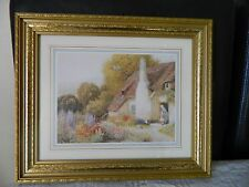 Vintage print of a country cottage in gold tone frame