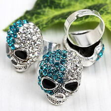 Punk Clear Peacock Crystal Skull Bead Finger Ring Women Girl Fashion Jewelry 1x