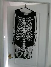 Mujer Damas Vestido De Esqueleto Negro Para Fiesta De Halloween Disfraz de Adulto Tamaño