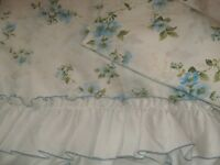 VINTAGE SHABBY COTTAGE CHIC BLUE FLORAL BED SHEETS TWIN FLAT FITTED PARIS CHIC