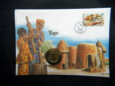 1987 TOGO Africa UNC COIN 5 francs on cover & stamp