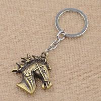 Vintage Punk Metal Animal Horse Head Keychain Accessory Retro Key Ring Jewelry
