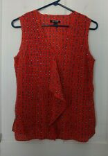 NIC+ZOE small dark orange w/ blue, white circles/dots, sleeveless, silk blouse