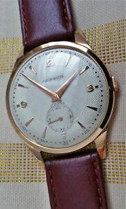 Vintage large Swiss Alaim mechanical watch, 18k solid rose gold, runs