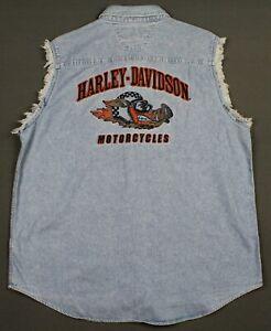 Harley-Davidson Motorcycles Embroidered HOG Denim Sleeveless Shirt Mens XL