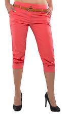 Damen Bermuda Boyfriend Hose 3/4 Capri CHINOHOSE Shorts mit Gürtel Hüfthose D-27