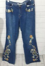 Women's Joe Boxer 70s style jeans with beaded flower accents sz 13