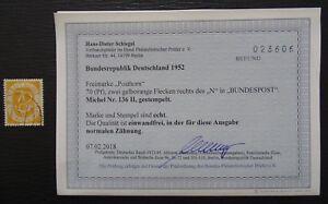 BRD/Bund Mi 136 II , Plattenfehler , Gestempelt , BPP Befund