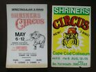 Lot of 2 Original Vintage SHRINERS CIRCUS 3 Ring Circus Cardstock Posters Tiger