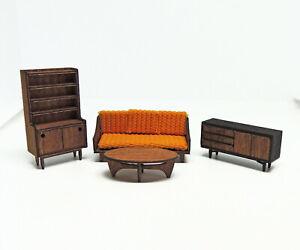 1:24 Living Room KIT LOT- Half Scale Dollhouse Miniature- Mid Century Modern