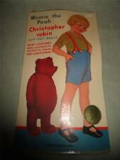 VINTAGE 1985 Winnie the Pooh & Christopher Robin Cut-Out Dolls Queen Holden NEW