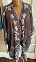 Johnny was size large Kimono Jacket Embroidered Boho Chic luxe
