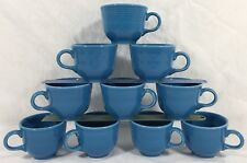 10 Lot) Vtg Fiestaware Turquoise Coffee Cups 8-oz Fiesta C-Handle Cheerful Blue