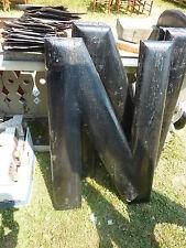"""huge ANTIQUE c1910-1920's BLACK wooden letter symbol N ~ 36"""" x 23"""" x 1.5"""""""