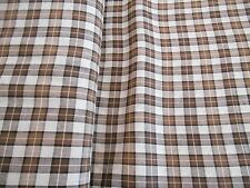 "NEW HOMESPUN 100% cotton dyed woven fabric browns white plaid 2 yds x 44""wide"