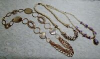 VINTAGE TO NOW ASSORTED SHELL BEADED GOLD TONE NECKLACE LOT