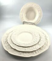 Crown Ducal Florentine White China 4 Piece Dinner Salad Bread/Butter Rim Bowl