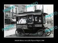 OLD POSTCARD SIZE PHOTO DEKALB ILLINOIS, THE POPCORN STREET WAGON c1900
