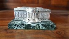 stirling silver paperweight model of the whitehouse c1989 on italian marble base