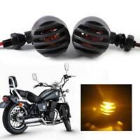 2X Black Motorcycle Turn Signal Blinker Lights Indicator Warning Lamp Bulbs 10mm