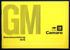 Owner'S MANUAL * Manuale di istruzioni 1978 Chevrolet Camaro (D)