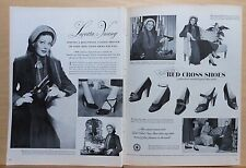1948 two page magazine ad for Red Cross Shoes - Loretta Young at shoe preview