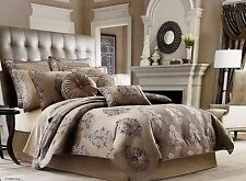 J QUEEN NEW YORK AMBROSIA TAN BEIGE QUEEN 4 PC COMFORTER SET
