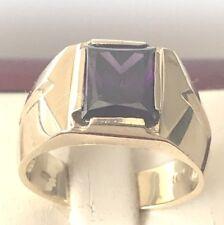 10 kt gold ring men Purple Stone Size 10 ,  HEAVY 8.3 GRAMS