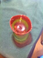 """Vintage Orange Glass Footed Candy Dish, 4 3/4"""""""