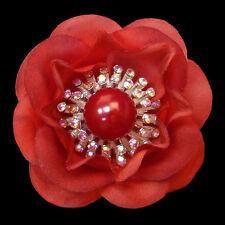 Broche FLEUR ROUGE camélia tissu cristal irisé perle
