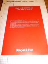Test certificate Bang & Olufsen MMC 20 CARTRIDGE ORIGINALE