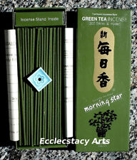 Nippon Kodo Morning Star Green Tea Incense 200 Sticks Box - Small Tile Holder