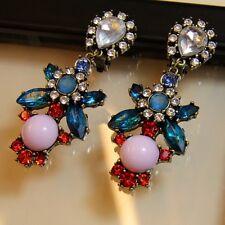 Boucles d`Oreilles a Clip Longue Pendante Fleur Bleue Violette Soirée Cadeau A10