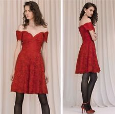 vintage 80s VICKY TIEL COUTURE red lace lover off shoulder cocktail party dress