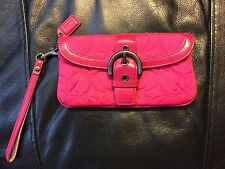 Coach Women's Hot Pink Quilted Signature Wristlet Leather Strap Trim