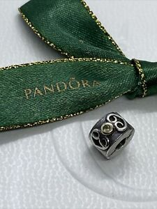 Pandora Double Heart Charm Sterling Silver & 14k Gold Snap Lock 790382PE Gwnuine
