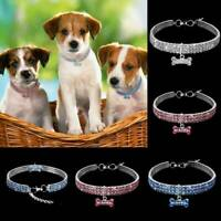 Pet Dog Rhinestone Collar Bling Bone Charm Pendant Dog Puppy Diamond Necklace