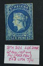 MOMEN: ST HELENA SG #1 IMPERF 1856 USED £200 LOT #5181