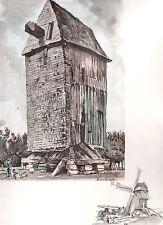 AQUARELLE COULEUR VIEUX MOULIN / Moulin de la Vallée à Vatteville la rue / Seine