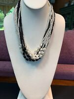 Vintage Beaded Woven  Multi Strand  Black And White Imitation Pearl Necklace 20""