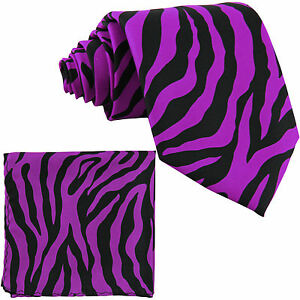 New Polyester Zebra Animal Print Formal Party Necktie & Hankie Purple dahlia