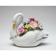 """NEW MUSICAL """"SWAN WITH FLOWERS"""" WHITE+PINK+GREEN PORCELAIN FIGURINE-SA49104-NAIS"""