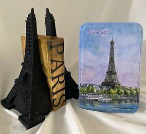 LOT PARIS Eiffel Tower Bookends Tin Faux Book Box Storage Souvenir French Decor