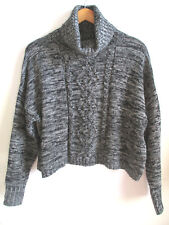 WET SEAL womens turtleneck sweater L LARGE black marle marble knit loose fit