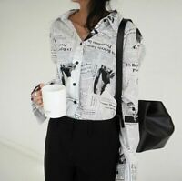 Black White Street  Swag Urban Loose Newspaper Print Long  Shirt Blouse 8 10