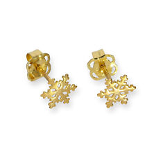Real 375 9ct Gold Snowflake Stud Earrings Winter Christmas Flurry Holiday Storm