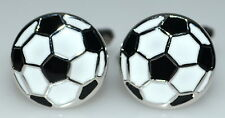Football Round Cufflinks Black White enamel Jewellery Boxed Gift for sports fans