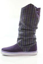 Sale! ETNIES Womens Girls Siesta Rain Boots Sz 5 Purple Suede/Plaid Skate Shoes