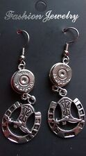 38 SPECIAL W/HORSE SHOE & BOOT  EARRINGS  RECYCLED NEW UNUSED STAINLESS  WIRE