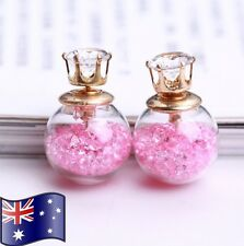 Pink Crystal Filled Double Sided Ball Glass Orb CZ Gold Stud Earrings XMAS Gift